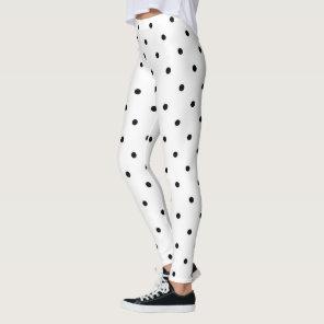Black and White Polka Dot Pattern Leggings