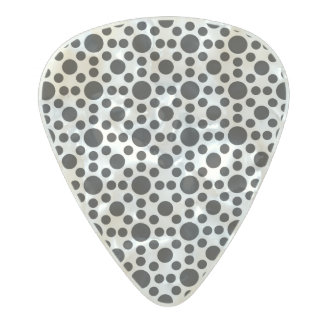 black and white polka dot pattern pearl celluloid guitar pick