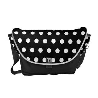 Black and White Polka Dot Pattern. Spotty. Courier Bag
