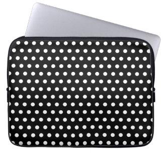 Black and White Polka Dot Pattern. Spotty. Laptop Sleeve