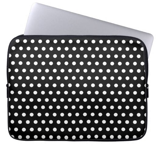 Black and White Polka Dot Pattern. Spotty. Laptop Computer Sleeves