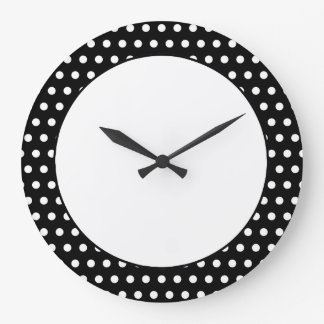Black and White Polka Dot Pattern. Spotty. Large Clock