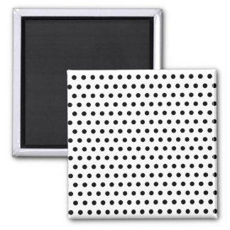 Black and White Polka Dot Pattern. Spotty. Square Magnet
