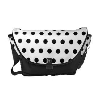 Black and White Polka Dot Pattern. Spotty. Messenger Bag