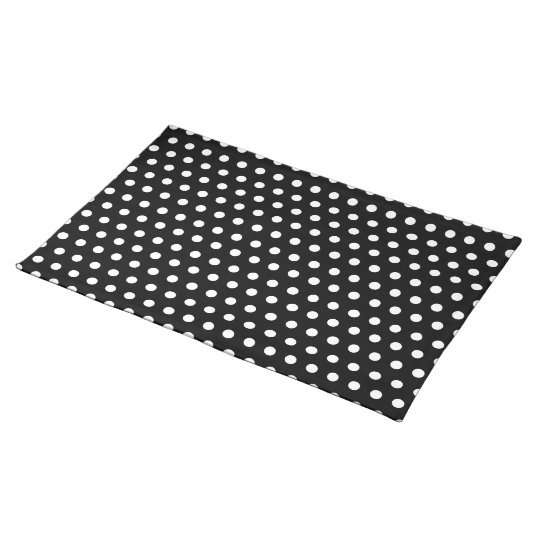 Black and White Polka Dot Pattern. Spotty. Placemat