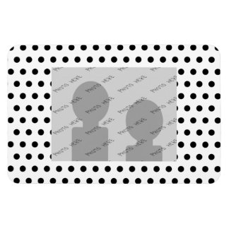 Black and White Polka Dot Pattern Spotty Rectangle Magnets