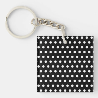 Black and White Polka Dot Pattern. Spotty. Single-Sided Square Acrylic Key Ring