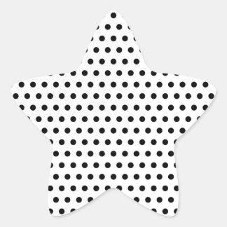 Black and White Polka Dot Pattern Spotty Star Sticker