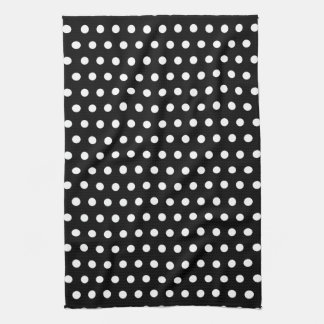 Black and White Polka Dot Pattern. Spotty. Tea Towel