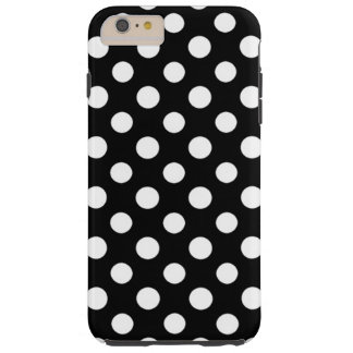 Black and White Polka Dot Pattern Tough iPhone 6 Plus Case