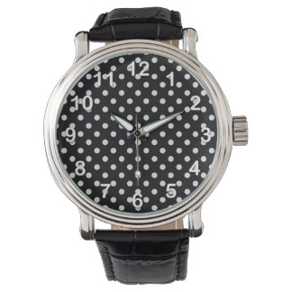 Black and White Polka Dot Pattern Watch