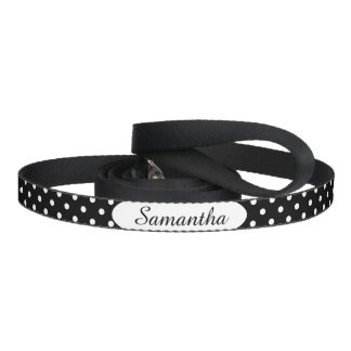 Black and White Polka Dot Personalised Dog Leash
