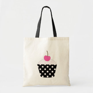 Black and White Polka Dot Pink Cherry Cupcake Tote Budget Tote Bag
