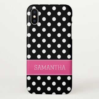 Black and White Polka Dot Pink Personalized iPhone X Case