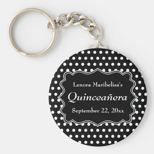 Black and White Polka Dot Quinceanera Keychains