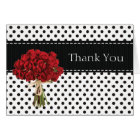 Black and White Polka Dot Red Roses Thank You Card
