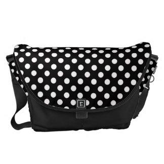 Black and White Polka-dot Rickshaw Messeger bag Messenger Bag