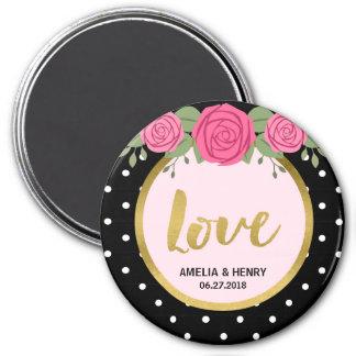 Black and White Polka Dot Roses Wedding Love 7.5 Cm Round Magnet