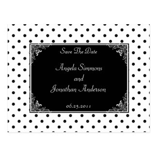 Black and White Polka Dot Save The Date Postcard