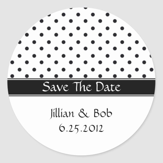 Black and White Polka Dot Save The Date Stickers