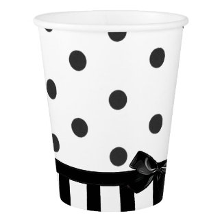 Black and White Polka Dot Striped  Paper Cup