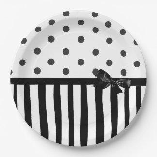 Black and White Polka Dot Striped  Paper Plate
