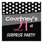 Black and White Polka Dot Surprise Birthday Party Invite