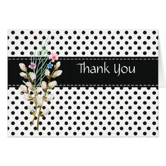 Black and White Polka Dot Thank You Card