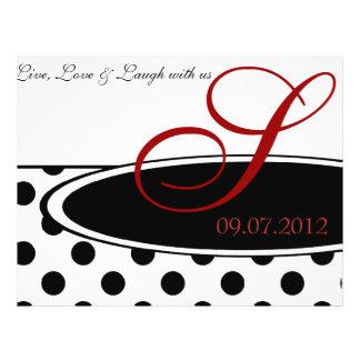 Black and White Polka Dot Wedding Ceremony Program Full Color Flyer