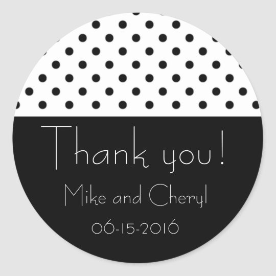 Black and White Polka Dot Wedding Favour Stickers