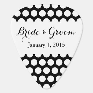 Black and White Polka Dot Wedding Guitar Pick