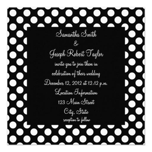 Black and White Polka Dot Wedding Custom Invites
