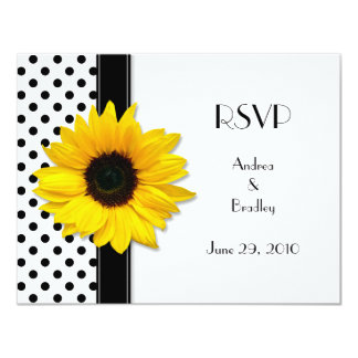 Black and White Polka Dot Wedding RSVP Card 11 Cm X 14 Cm Invitation Card