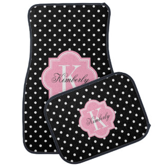 Black and White Polka Dot with Pink Monogram Car Mat
