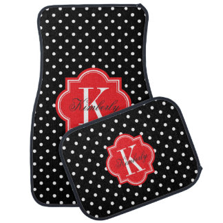 Black and White Polka Dot with Red Monogram Car Mat