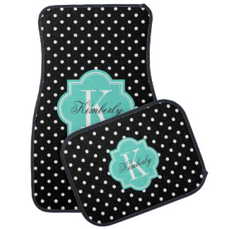 Black and White Polka Dot with Turquoise Monogram Car Mat