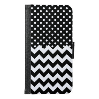 Black and White Polka Dots and Chevrons Samsung Galaxy S6 Wallet Case