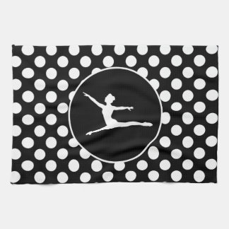 Black and White Polka Dots; Ballet Tea Towel