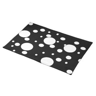 Black and white polka dots place mat