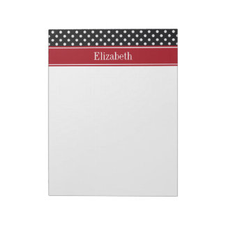 Black and White Polka Dots Cranberry Name Monogram Notepads