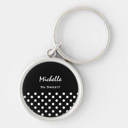 Black and White Polka Dots Custom Name Key Chain