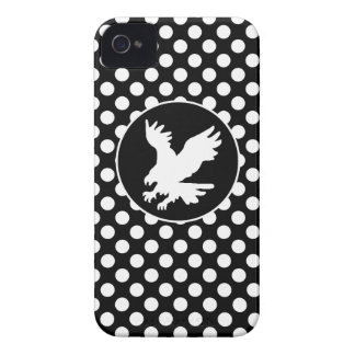 Black and White Polka Dots; Eagle Case-Mate iPhone 4 Case
