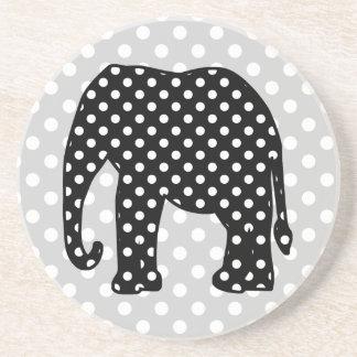 Black and White Polka Dots Elephant Beverage Coasters