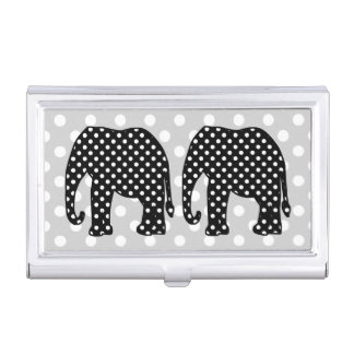 Black and White Polka Dots Elephant Business Card Holder