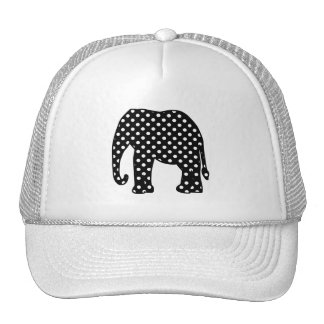 Black and White Polka Dots Elephant Cap