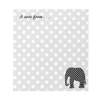 Black and White Polka Dots Elephant Notepad
