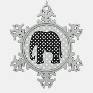 Black and White Polka Dots Elephant Pewter Snowflake Decoration