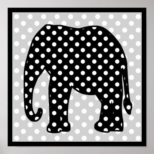 Black and White Polka Dots Elephant Print