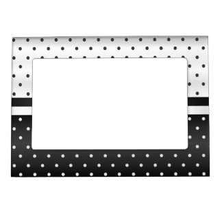 Black and White Polka Dots Frame Magnet
