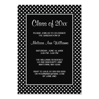 Black and White Polka Dots Graduation Announcement